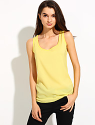 Women's Casual/Daily Simple Spring Summer Tank Top,Solid Round Neck Short Sleeve Polyester Thin