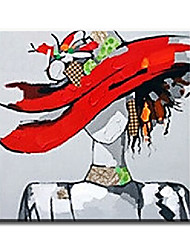 Pintados à mão Pessoas Clássico / Tradicional / Realismo / Mediterrêneo / Pastoril / Estilo Europeu / Modern,1 Painel TelaHang-painted