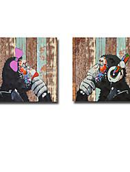 Pintada a mano Animal Modern,Dos Paneles Lienzos Pintura al óleo pintada a colgar