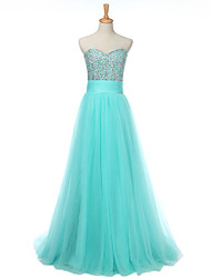 Formal Evening Dress A-line Sweetheart Floor-length Tulle with Beading