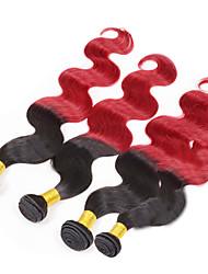 """4pcs / lot 8 """"-24"""" pelo virginal brasileño, mezclar color 1b / rojo, onda del cuerpo, de la fábrica al por mayor del pelo humano sin"""