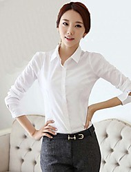 Women's Casual/Daily / Work Simple Fall Shirt,Solid Shirt Collar Long Sleeve White Polyester Medium