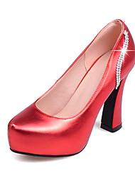Homme-Habillé Soirée & Evénement-Rouge Argent Gris Or-Gros Talon Plateforme-A Plateau-Chaussures à Talons-Similicuir