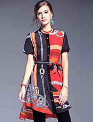 AFOLD® Feminino Colarinho Chinês Manga Curta Assimétrico Vestidos-5595