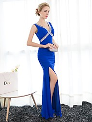 Formal Evening Dress Trumpet / Mermaid V-neck Floor-length Chiffon with Crystal Detailing