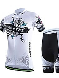 Sportif Maillot et Cuissard de Cyclisme Femme Manches courtes Vélo Respirable / Anti-transpiration Hauts/Tops / Bas ElasthannePrintemps /