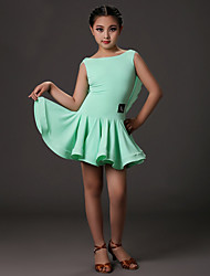Latin Dance Dresses Children's Training Lycra Draped 1 Piece Fuchsia / Light Green