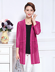 Women's Going out Simple Long Cardigan,Solid V Neck Long Sleeve Polyester Spring / Summer Thin