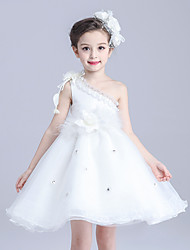 A-line Knee-length Flower Girl Dress - Cotton Organza Satin One Shoulder with Bow(s) Flower(s) Sash / Ribbon