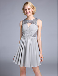 TS Couture® Cocktail Party Dress A-line Jewel Short / Mini Chiffon with Beading / Criss Cross / Ruching / Sequins
