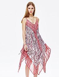heartsoul женщин выходя сексуальный свободные платья, цветочные V шеи выше колена без рукавов красный полиэстер летом