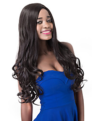 European Vogue Long Sythetic Natural Black Wave Side Bang Party Wig For Women