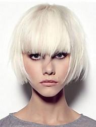 grisalho moda reta perucas de cabelo sintético