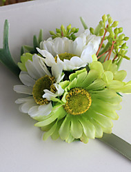 Wedding Flowers Hand-tied Lilies / Peonies Wrist Corsages Wedding Green Satin