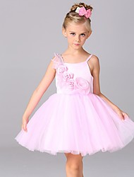 A-line Knee-length Flower Girl Dress - Cotton / Satin / Tulle Sleeveless Spaghetti Straps with