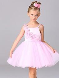 A-line Short/Mini Flower Girl Dress - Cotton / Satin / Tulle Sleeveless Spaghetti Straps