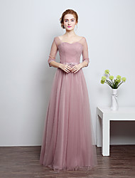 Floor-length Satin / Tulle Bridesmaid Dress - Sheath / Column Scoop with Bow(s)