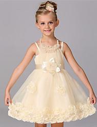 Ball Gown Knee-length Flower Girl Dress - Cotton Satin Tulle Sleeveless Halter with Beading Bow(s) Flower(s)