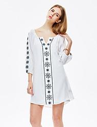 heartsoul женщин происходит из простой свободную платье, печать вокруг шеи выше колена ¾ рукав белый полиэстер летом