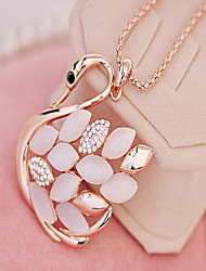 Swan Crystal Heart Pendant Necklace