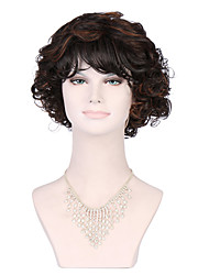 Sexy Lady's Glueless Deep Curly Short Hair Black Wig for African American Synthetic Hair Wig.