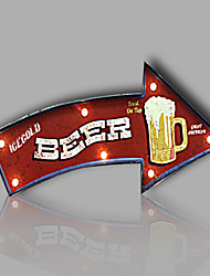 E-HOME® Metal Wall Art LED Wall Decor,BEER Arrowhead Tag LED Wall Decor One PCS