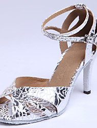 Customizable Women's Dance Shoes Latin / Ballroom Standard Shoes Suede/Leather/Leatherette Flared Heel Silver/Gold