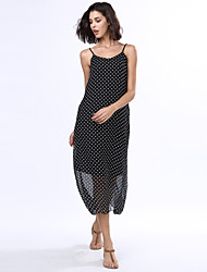 Women's Beach Boho Loose Dress,Polka Dot Strap Maxi Sleeveless Black Rayon Summer Low Rise Inelastic Opaque
