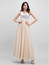 Formal Evening Dress A-line V-neck Floor-length with