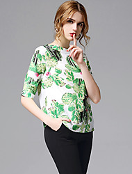 AFOLD® Women's Shirt Collar Short Sleeve Shirt & Blouse Green-5662