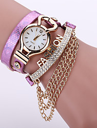 Women's Layered Leather Band with Gold Chain Tassel White Case Analog Quartz Bracelet Fashion Watch