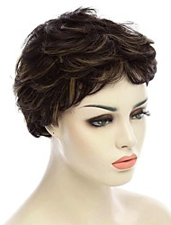 Natural Short Black Color Popular Curly Synthetic Wig For Woman