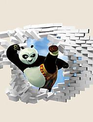 3D Cartoon US Broken Wall Design 3D Wall Stickers Fashion Panda Po Wall Decals