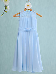 2017 Lanting Bride® Knee-length Chiffon Junior Bridesmaid Dress Sheath / Column Jewel with Ruching
