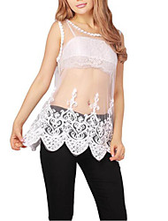 Woman Sexy Lace See-through Sleeveless T shirt Female Casual O-Neck Tops Tee White Black Shirt Plus Size
