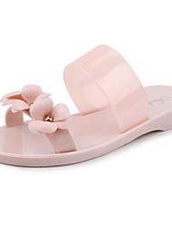 Calçados Femininos-Chinelos e flip-flops-Plástico-Rasteiro-Preto / Rosa / Preto e Vermelho-PVC-Casual