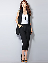 Women's Going out Street chic Spring / Summer Suits,Solid Shirt Collar Sleeveless White / Black Linen Medium