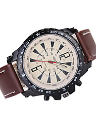 Men's Large Case Leather Band Analog Quartz Fashion Watch
