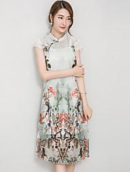 Mulheres Reto Vestido,Casual Vintage Estampado Colarinho Chinês Altura dos Joelhos Manga Curta Branco Algodão Verão