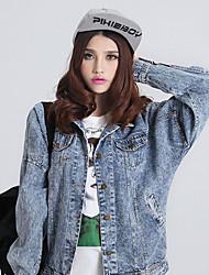 Feminino Jaqueta jeans Casual Moda de Rua Primavera Outono,Sólido Algodão Colarinho de Camisa Manga Longa