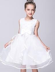 A-line Knee-length Flower Girl Dress - Organza Satin Jewel with Bow(s) Sash / Ribbon