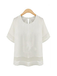 Women's Casual/Daily Street chic Summer Blouse,Solid Round Neck Short Sleeve White / Black Polyester Thin