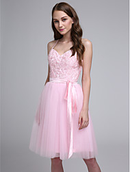 Lanting Bride Knee-length Tulle Bridesmaid Dress A-line Spaghetti Straps with Appliques / Beading / Sash / Ribbon