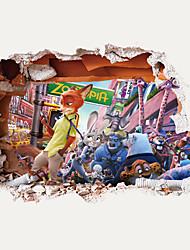 3D Cartoon US Zootopia Animals City 3D Wall Stickers PVC Living Room Fashion Zootropolis Wall Decals