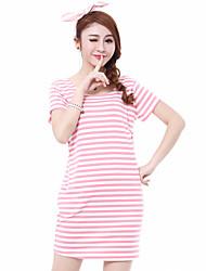 Maternidade Vestido,Happy-Hour Moda de Rua Listrado Decote Redondo Mini Manga Curta Rosa Algodão