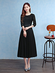 Tea-length Tulle Bridesmaid Dress Sheath / Column Jewel with Bow(s) / Sash / Ribbon