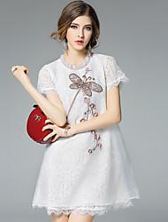 Ewheat® Mujer Escote Chino Manga Corta Sobre la Rodilla Vestidos-H2651