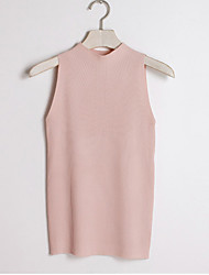 Women's Solid Pink / White / Beige / Black / Gray Vest,Sexy Sleeveless