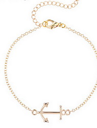 Kimiing Gold/Silver Eiffel Anchor Shape Chain Bracelet Jewelry Christmas Gifts