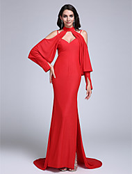 TS Couture Formal Evening Dress - Celebrity Style Sheath / Column Spaghetti Straps Sweep / Brush Train Jersey